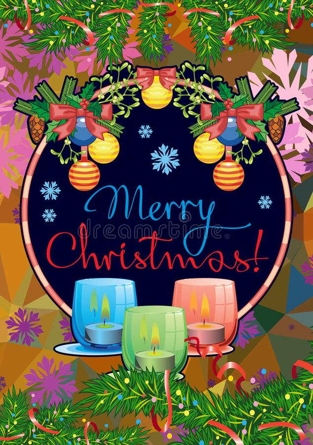 Christmas garland, lighted candles and holiday greeting text `Merry Christmas!`. vector illustration
