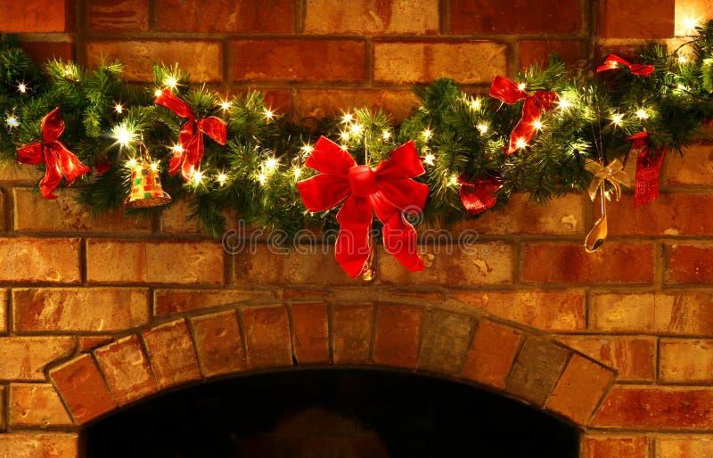Christmas Garland with Lights stock photo