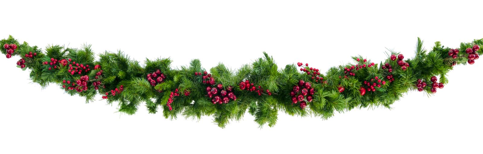 Christmas Garland with Red Berries Isolated on White stock images
