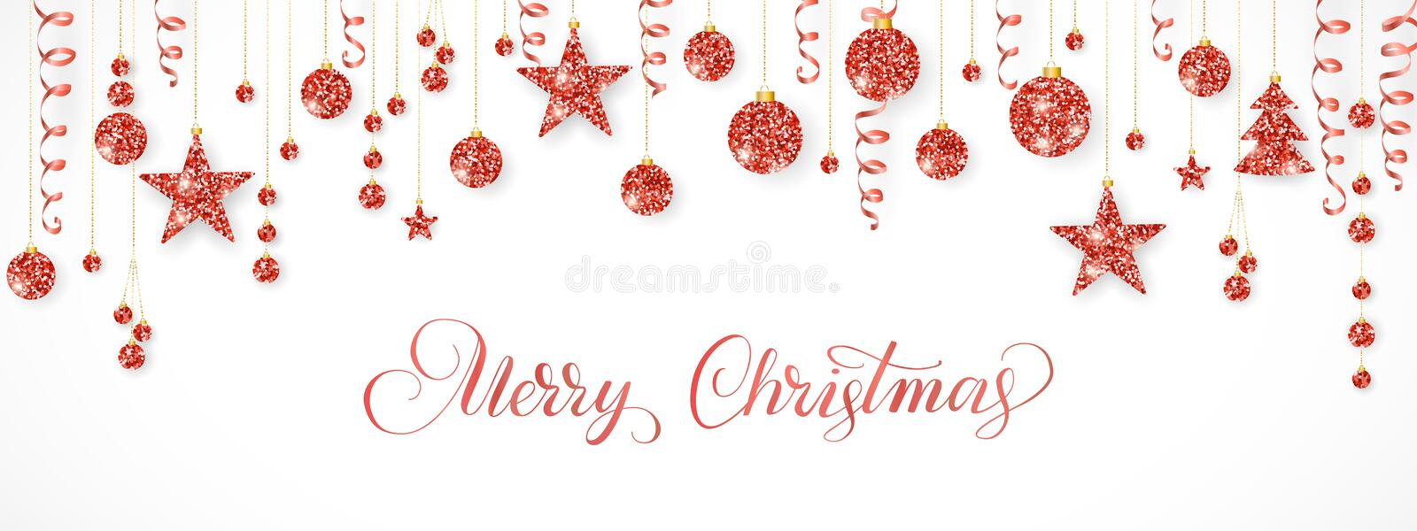 Christmas garland. Red glitter ornaments isolated on white. Hanging ribbons and balls. Merry Christmas calligraphy vector illustration
