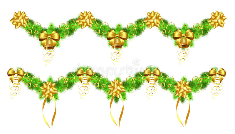 Christmas garlands with golden ribbons and bells vector illustration