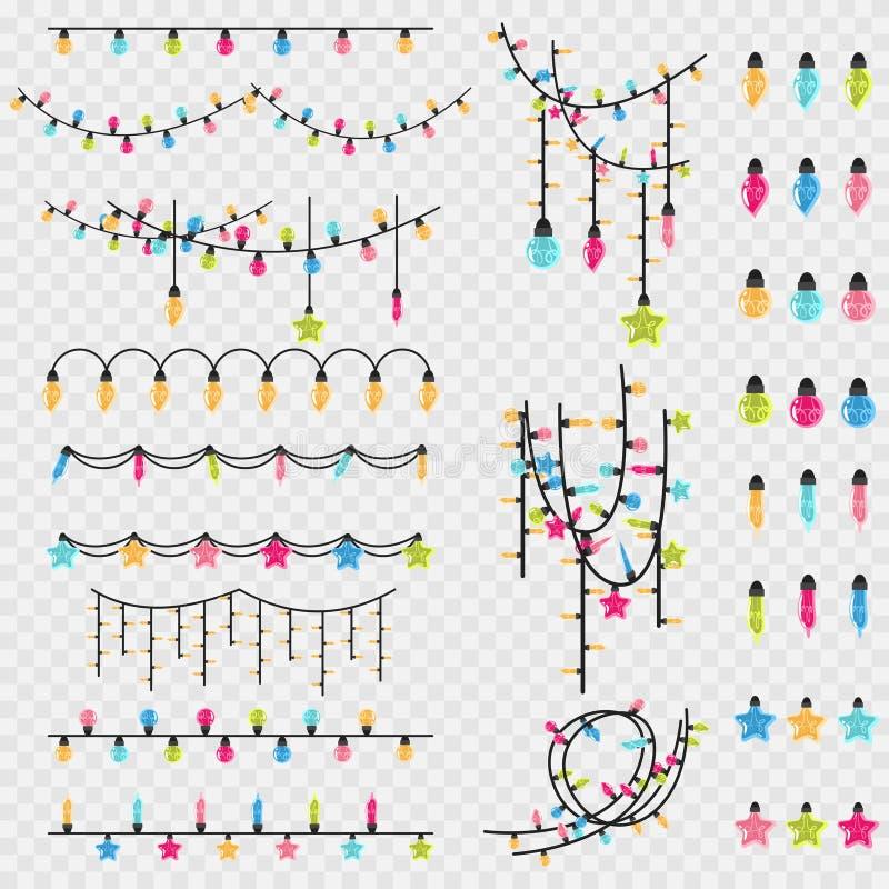 Christmas garlands and light bulb vector icon set stock photos