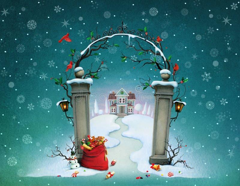 Christmas gates royalty free illustration