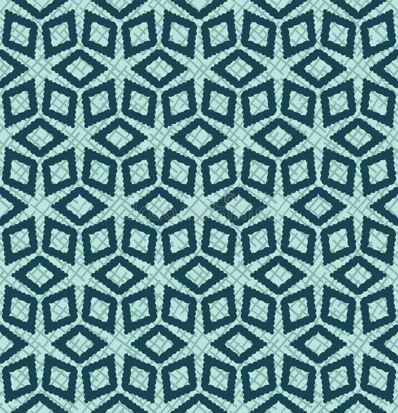Christmas geometric diamond flower grid seamless pattern. Hand drawn textured vector background. Festive xmas scrap paper, yule. Christmas geometric diamond stock illustration