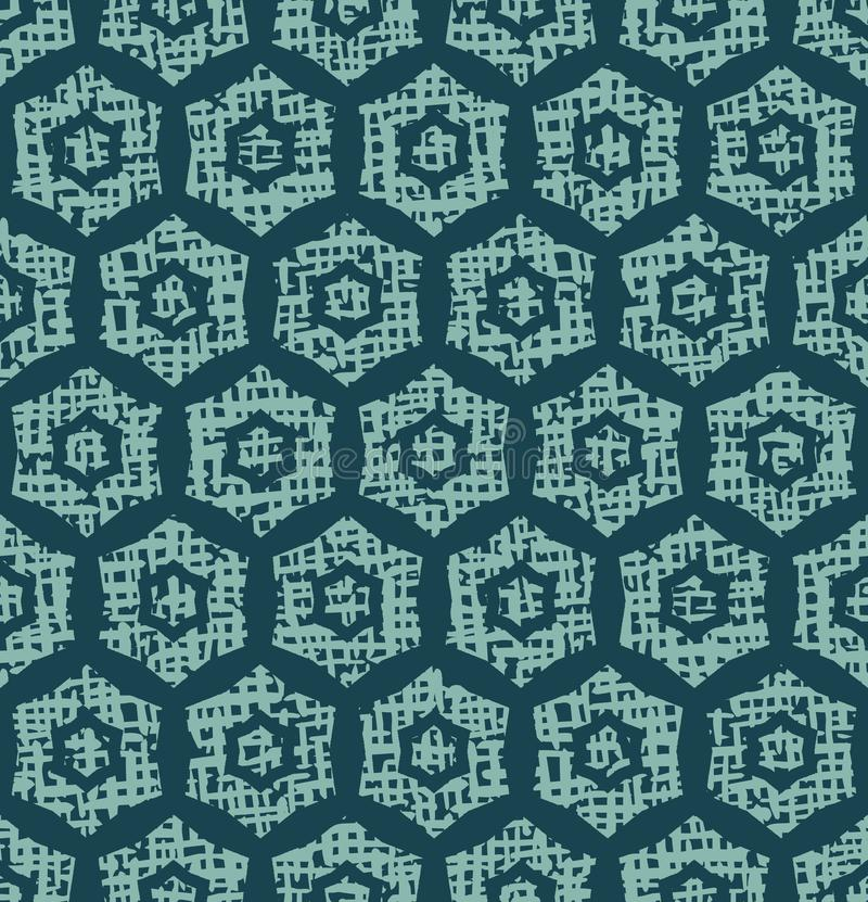 Christmas geometric hexagon grid seamless pattern. Hand drawn textured vector background. Festive xmas scrapbooking paper, yule. Christmas geometric hexagon grid stock illustration
