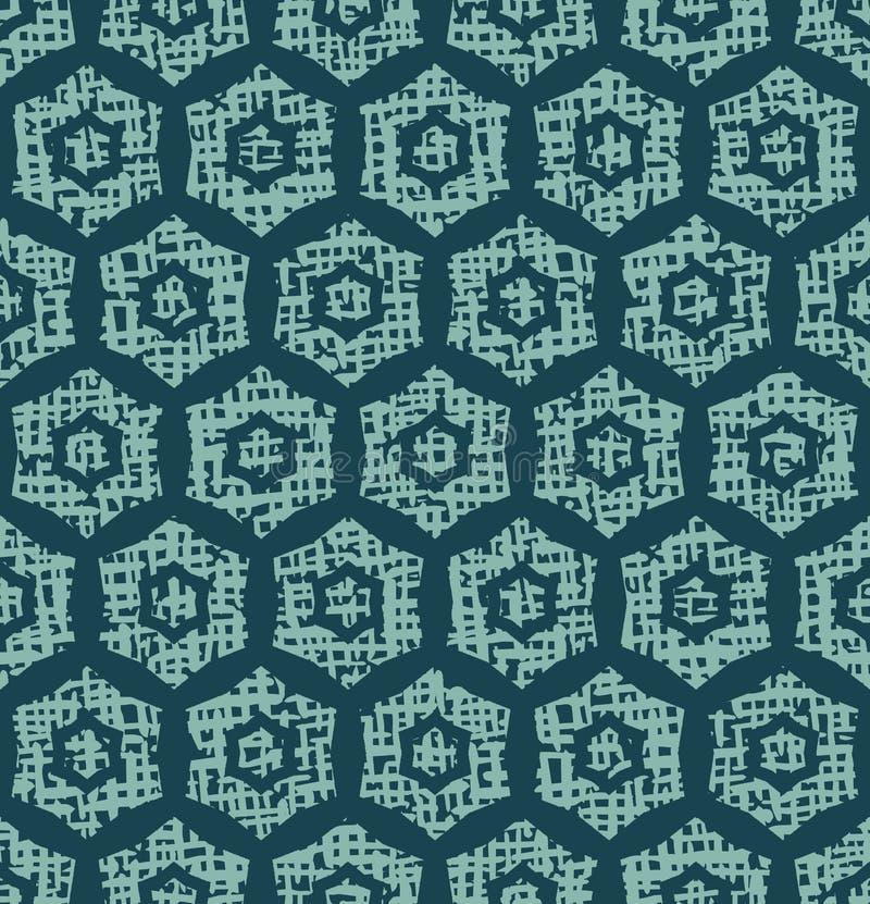 Christmas geometric hexagon grid seamless pattern. Hand drawn textured vector background. Festive xmas scrapbooking paper, yule. Christmas geometric hexagon grid royalty free illustration