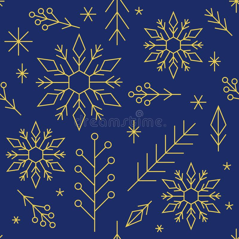 Christmas geometric seamless background pattern, snowflakes, gold ornaments on dark blue vector illustration