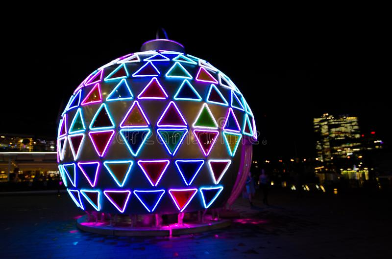 Christmas giant ball artwork sparkle light installation at Darling Harbour, Sydney Downtown at Night. SYDNEY, AUSTRALIA. – On November 28, 2017 stock images