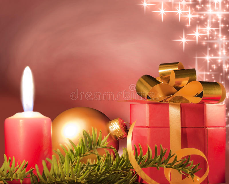 Christmas gift. And baubles on the old gold background vector illustration