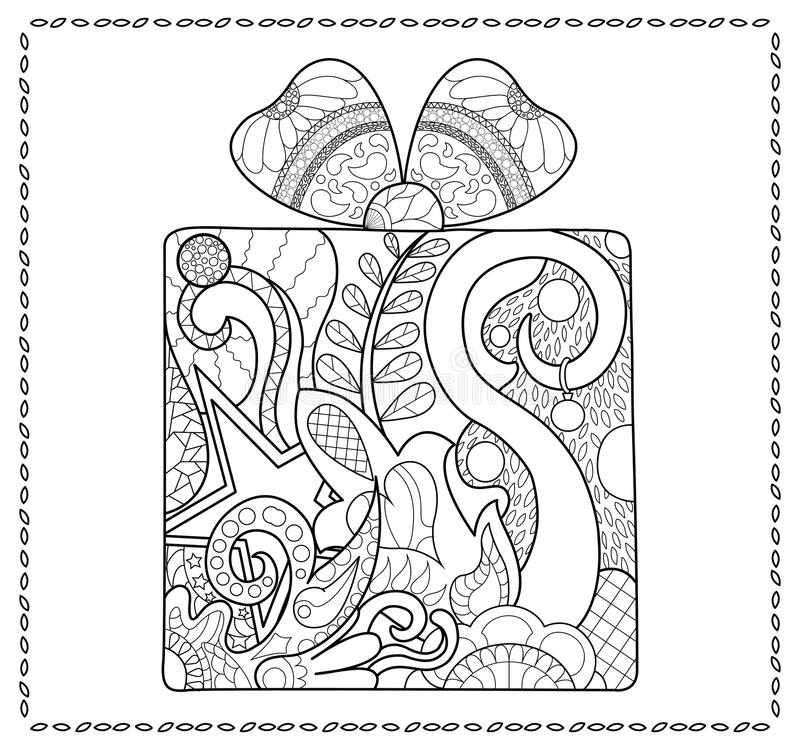 Christmas Gift Adult Coloring Page. New Year Present For Coloring ...