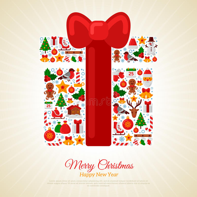 Christmas Gift Assembled from Icons with Red Ribbon Bow vector illustration