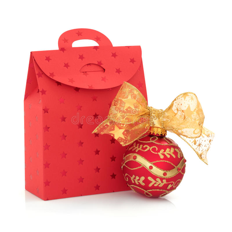 Download Christmas Gift Bag And Bauble Stock Image - Image: 21219847