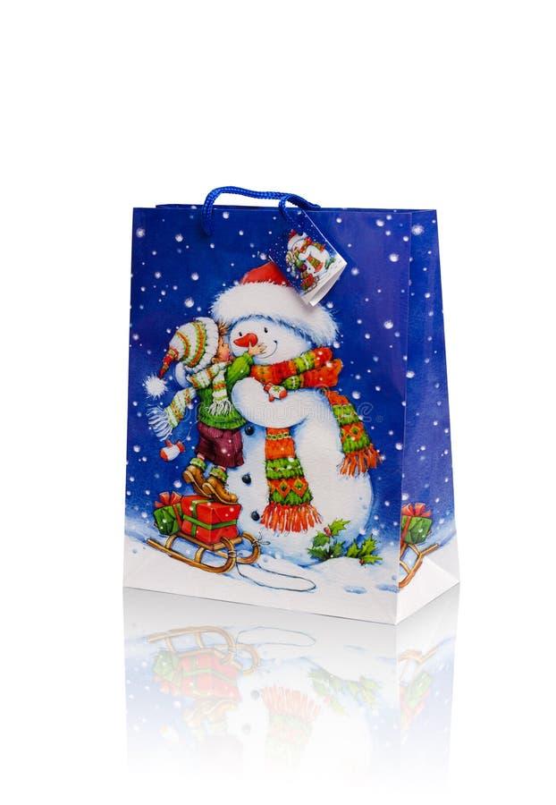 Christmas gift bag stock image