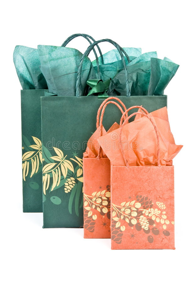 Christmas Gift Bags Isolated on White stock image