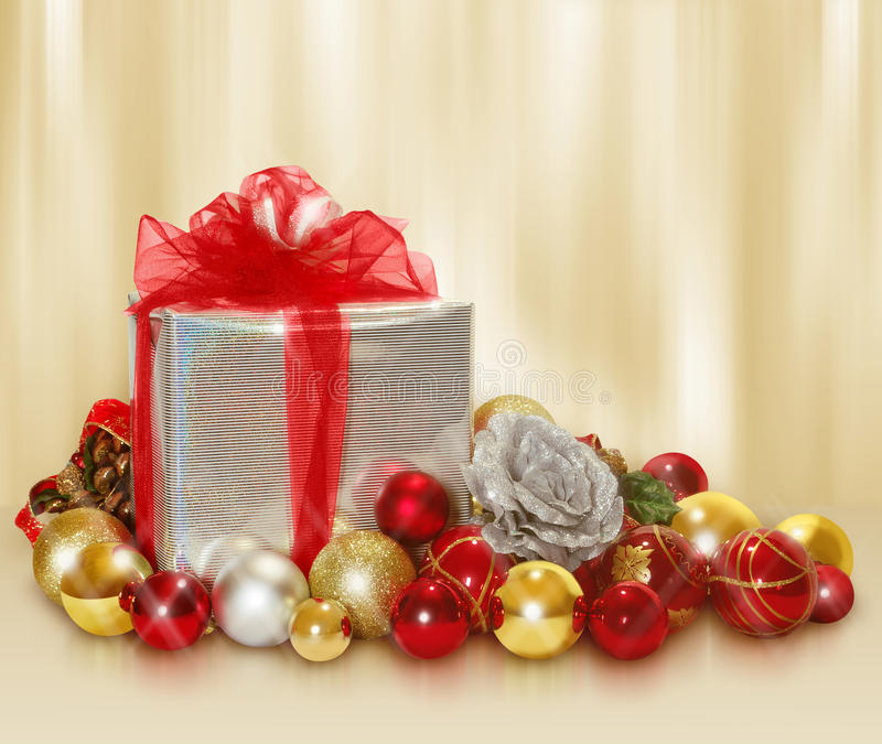 Download Christmas gift and balls stock image. Image of ribbon - 27585147