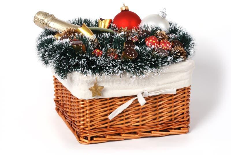 Christmas gift basket stock photos