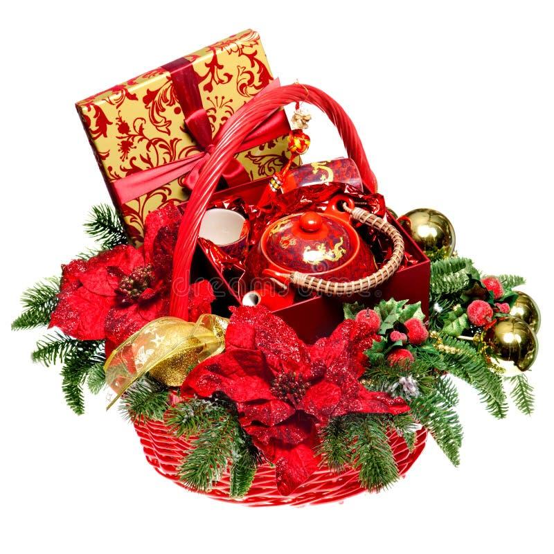 Free Christmas Gift Basket On White Background Royalty Free Stock Image - 22410916