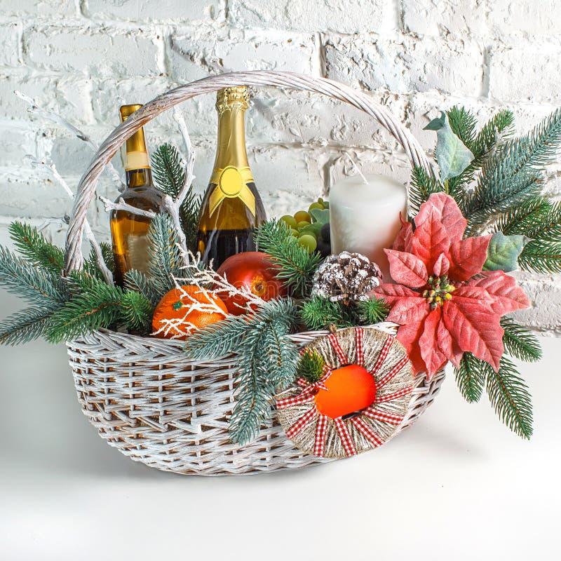 Christmas gift basket royalty free stock photography