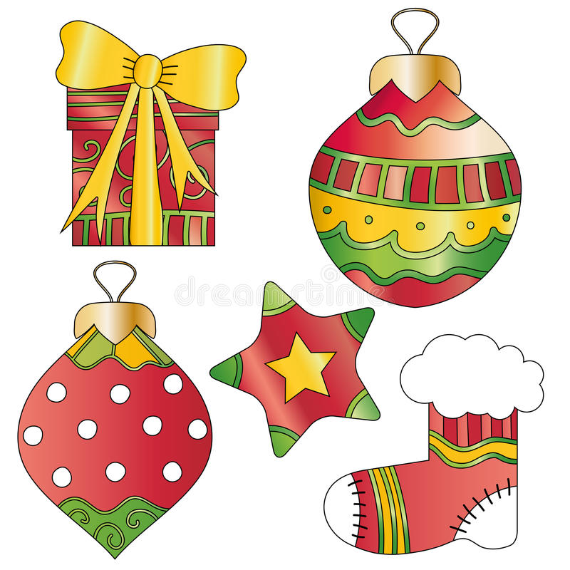 Christmas gift, bauble, star and stocking. Colorful and whimsical Christmas gift, bauble, star and stocking stock illustration