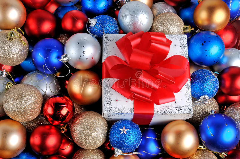 Download Christmas gift and baubles stock photo. Image of decoration - 28062500