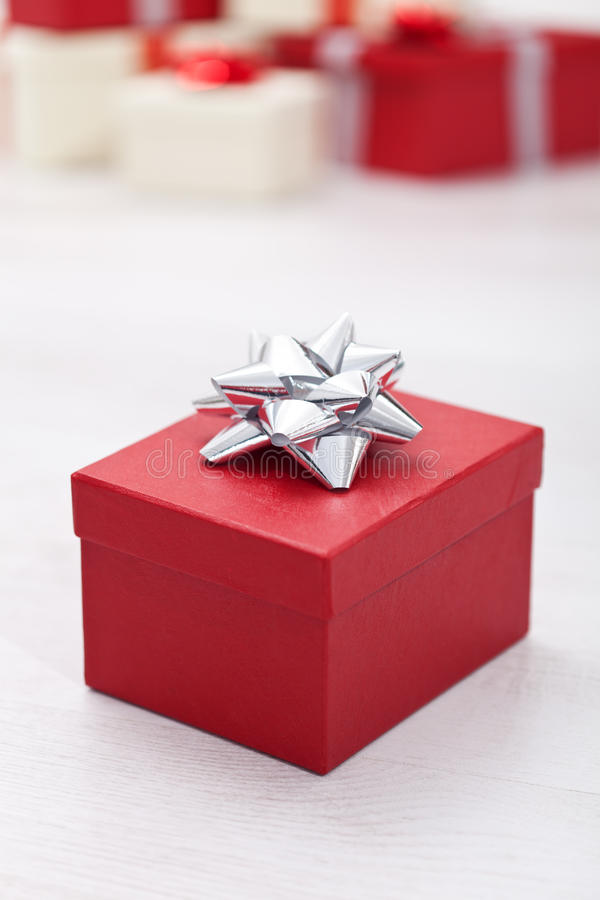 Christmas gift box. Red christmas or other anniversary gift box royalty free stock images