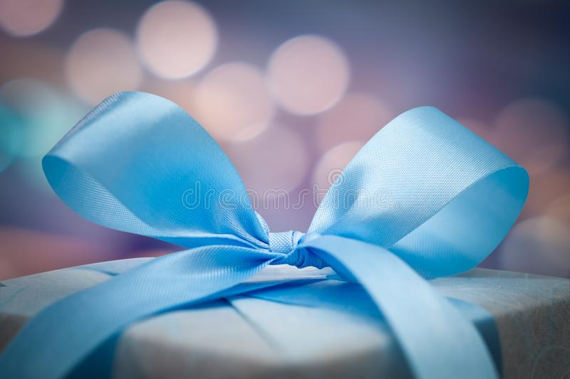 Christmas gift box with bokeh background. stock photography