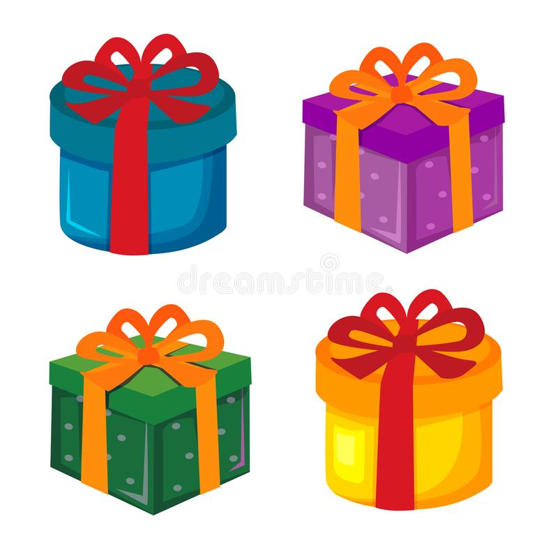 Christmas gift box cartoon element set. Cute christmas gift box cartoon element set stock illustration