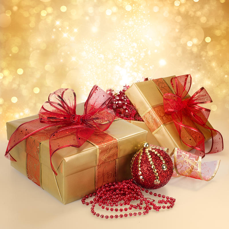 Gift Box Christmas Decorations: Christmas Gift Box And Decorations In Gold And Red Stock