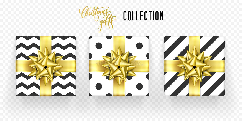 Christmas gift box golden bow ribbon vector icons set New Year greeting royalty free illustration