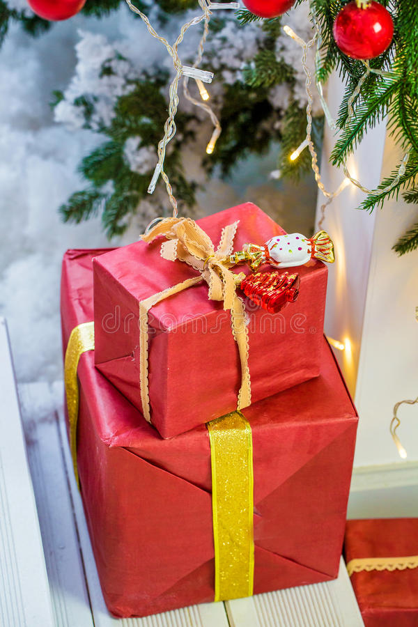 Christmas gift box. stock photography