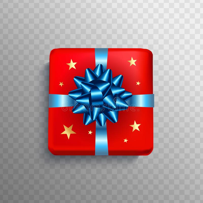 Christmas Gift box red present in blue ribbon bow. Square Christ vector illustration
