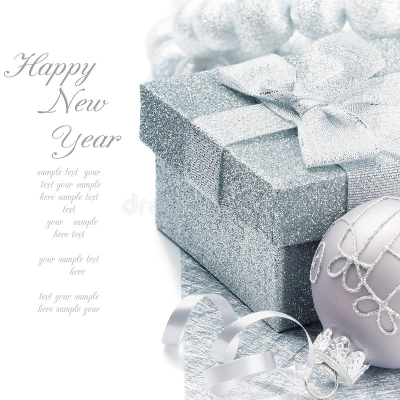 Download Christmas Gift Box In Silver Tone Stock Photo - Image: 21935602