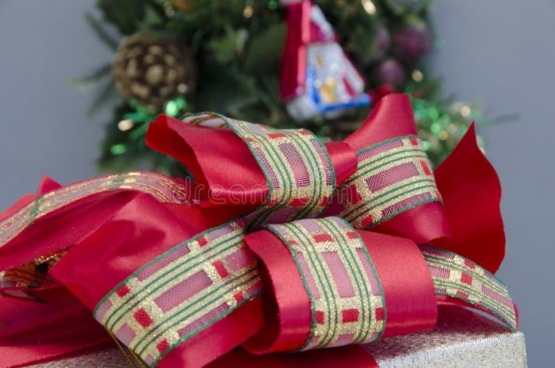 Christmas Gift Box Topknot. Detail of christmas gift box topknot stock image