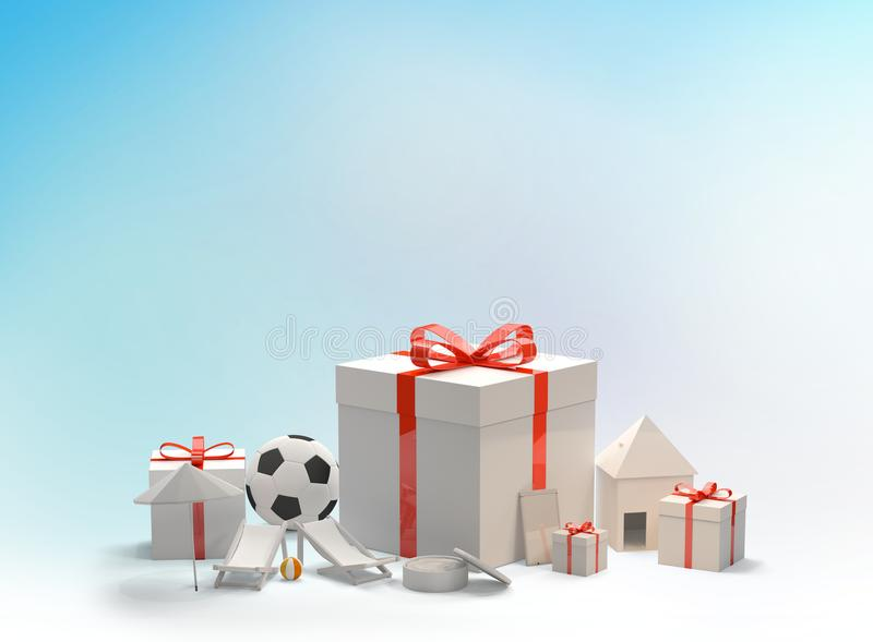 Christmas gift boxes with bow with a soccer ball a phone a skin royalty free illustration