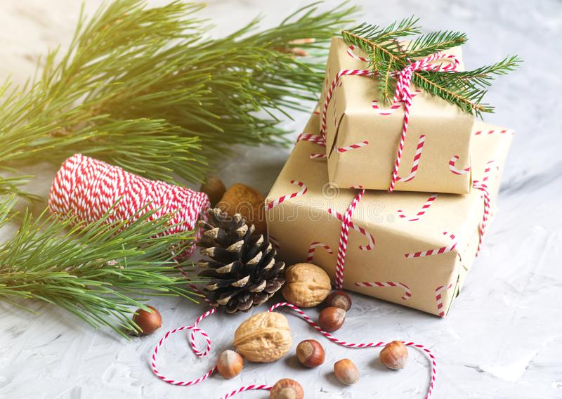 Christmas Gift Boxes Decoration Natural Decor New Year Party Concept royalty free stock images