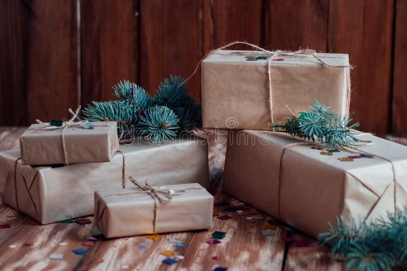 Christmas gift boxes for the fulfillment of the most secret desires of each person royalty free stock images