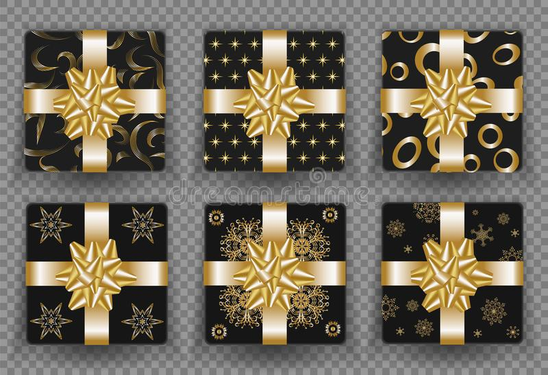Christmas gift boxes with golden ribbon bow and gold wrapping pattern. Vector isolated gifts set for New Year or Christmas and Bir vector illustration