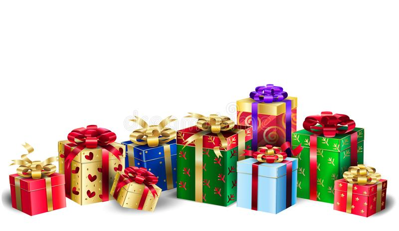 Christmas gift boxes group presents on white vector illustration