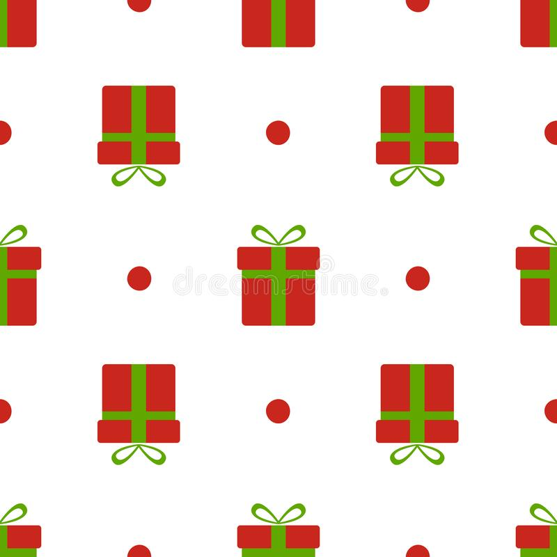 Christmas gift boxes pattern. Red xmas boxes with green bow and snow isolated on white background. Present seamless stock illustration