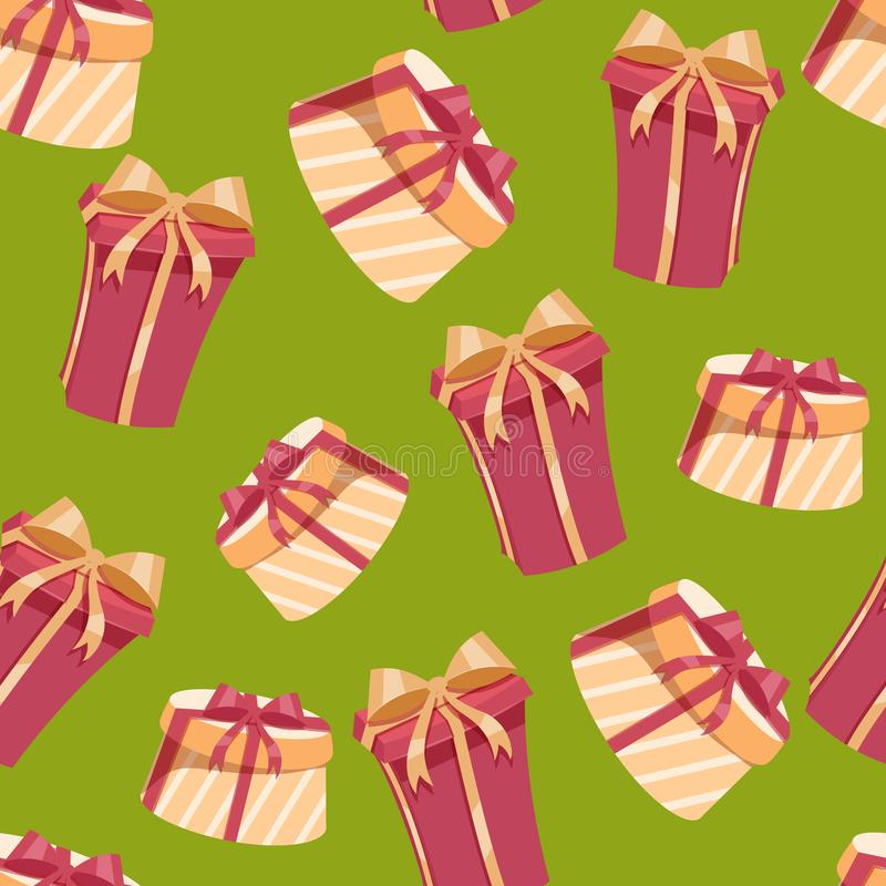Christmas gift boxes seamless pattern. Round and rectangular boxes with red and gold ribbons and bows. Green background. royalty free illustration