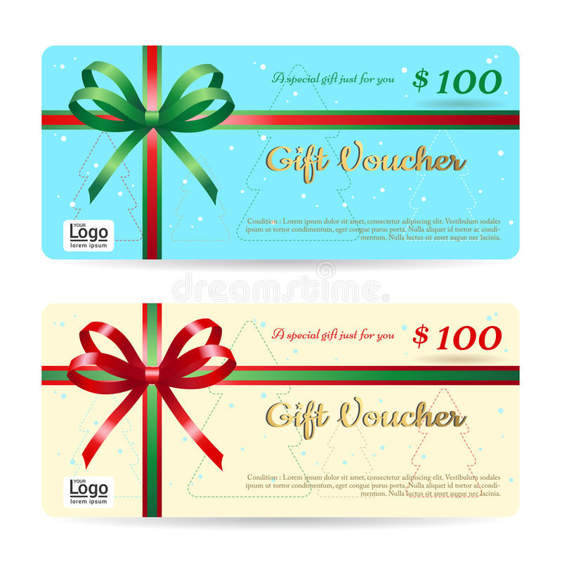 Download Christmas Gift Card Or Gift Voucher Template With Shiny Red And  Stock Vector   Illustration  Christmas Gift Vouchers Templates