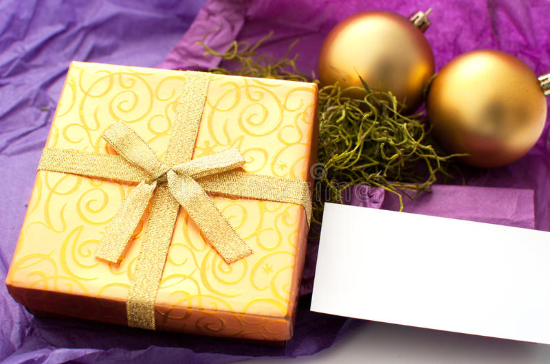 Christmas Gift With Card For Text Stock Images
