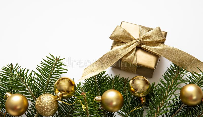 Christmas gift and decoration on white color background royalty free stock images