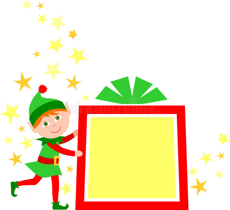 Christmas Gift Elf/eps. Illustration of a cute Christmas elf with a Christmas gift package...one of a set of eight matching elves in my portfolio royalty free illustration