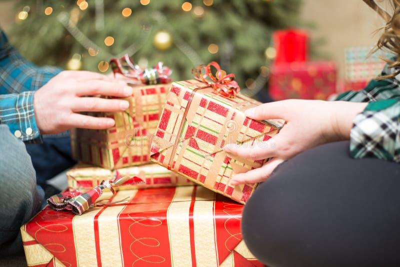 Christmas gift exchange stock photo