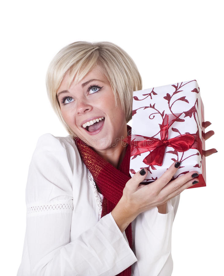 Christmas gift excitement stock images