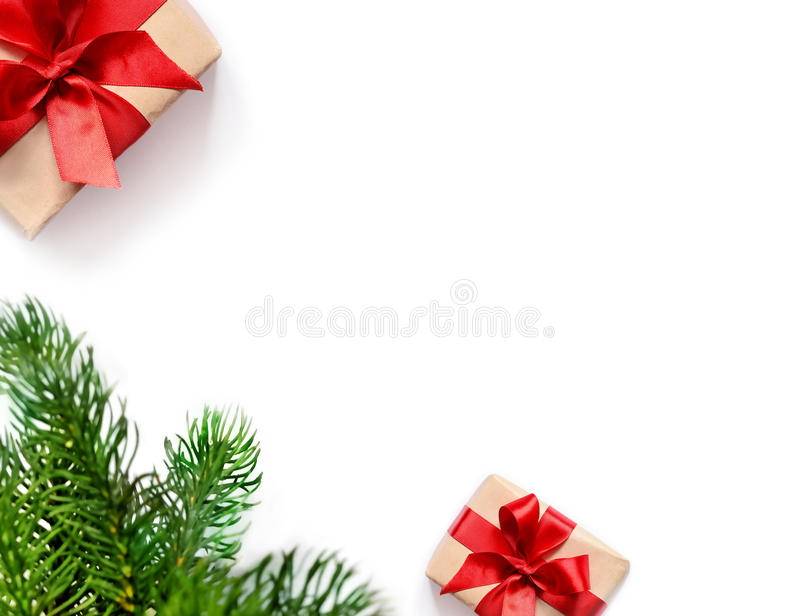 Christmas gift and fir tree branches. Top view. Christmas composition. Christmas gift and fir tree branches. Top view, flat lay stock image