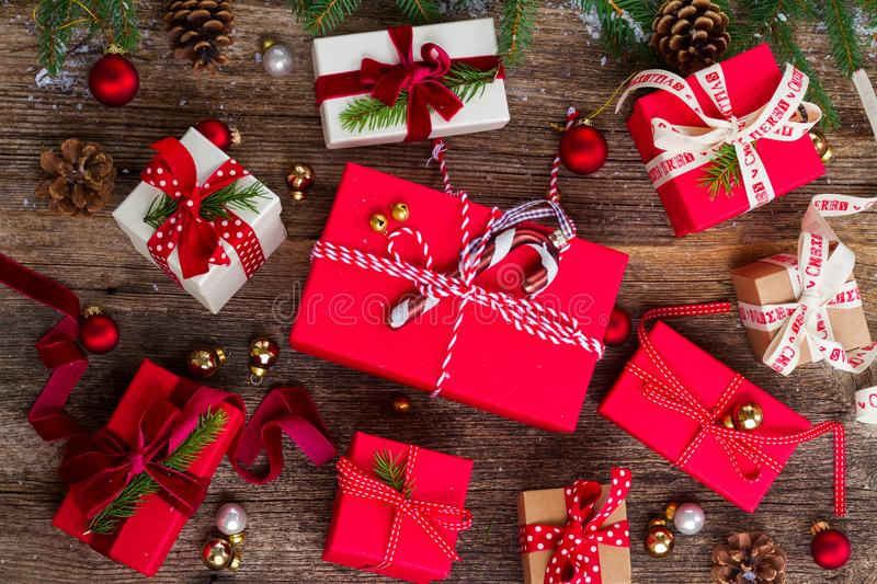 Christmas gift giving royalty free stock images