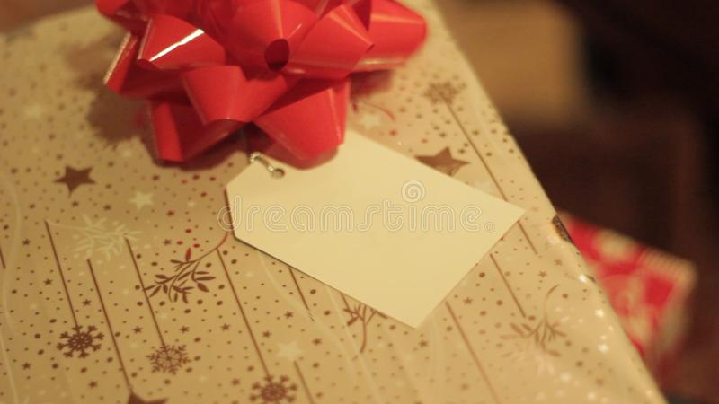 Christmas Gift with greeting card stock photography