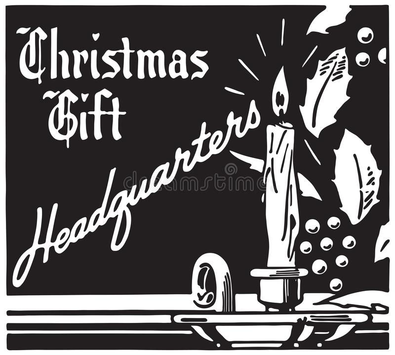 Christmas Gift Headquarters. Retro Ad Art Banner royalty free illustration